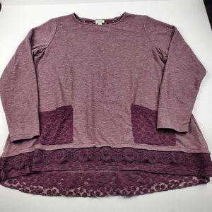 LOGO Lounge Mauve Lace 3/4 Sleeve Top Size L